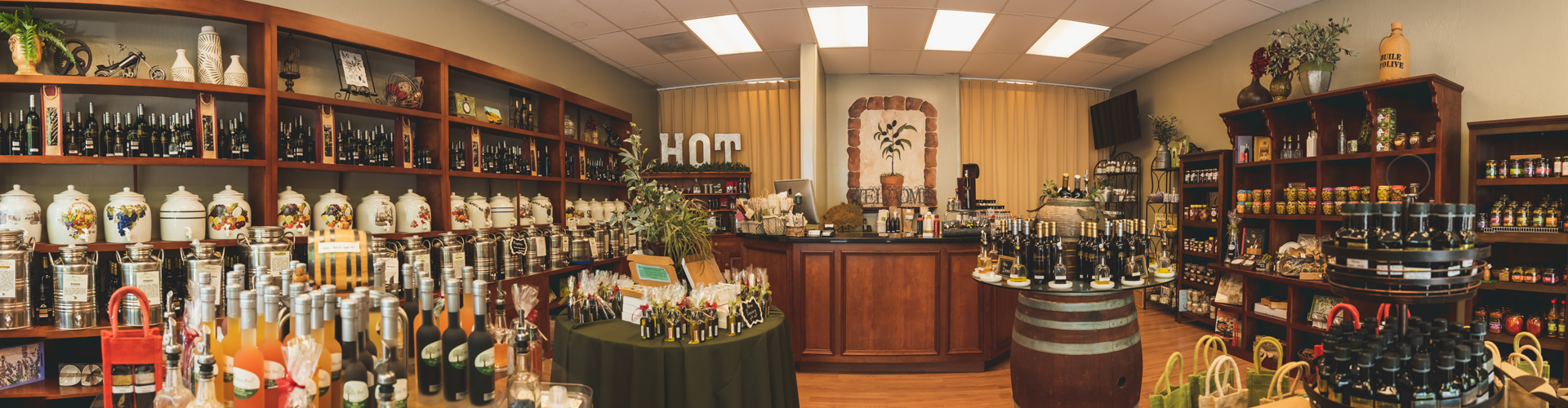 panorama view of the olive bar